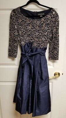 Jessica Howard Party Cocktail Dress Navy Blue Sequins Empire Waist Bow Size 12  Empire Waist Bow