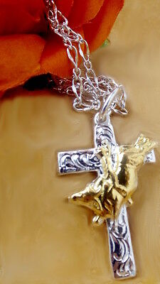 Lets Rodeo BULL RIDING Inspirational Cross necklace  Sterling SILVER True Beauty