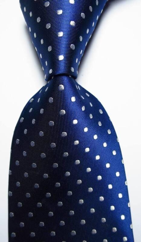 New Classic Polka Dot Dark Blue White Jacquard Woven 100% Silk Men
