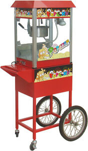 New Red Commercial Electric 8 oz Popcorn Maker Machine / Display Cabinet & Cart