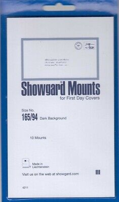 Showgard Black Stamp Mounts 165/94 mm For FCD First Day Covers Black Pack Of 10