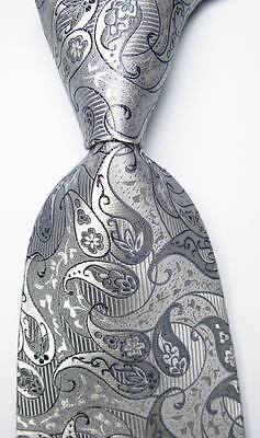 New Classic Paisley Silver Gray JACQUARD WOVEN 100% Silk Men's Tie Necktie