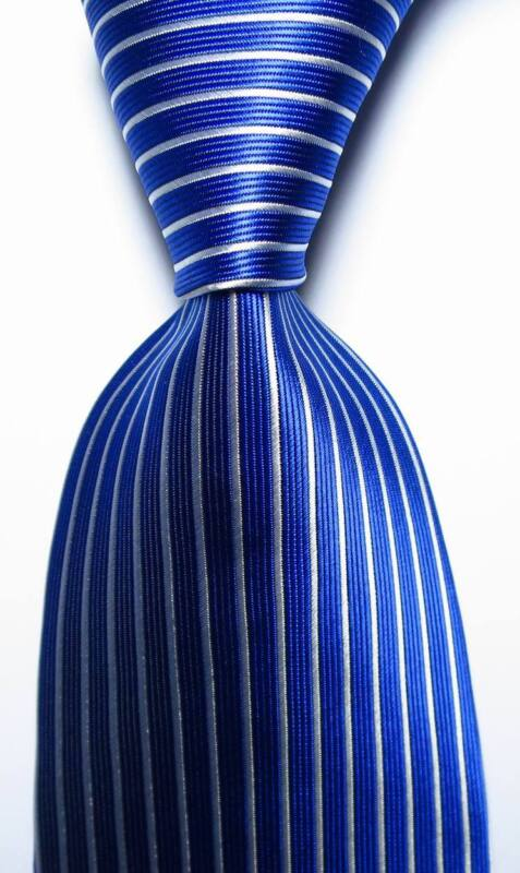 New Classic Striped Blue White Jacquard Woven 100% Silk Men