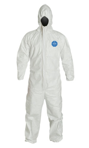 Protective Coveralls, Dupont Tyvek 400, White, Storm Flap, Hood, CASE of 25