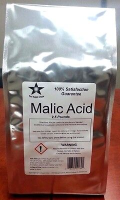 Malic Acid FCC/ USP Grade 2.5 Lb Pack w/ Free Shipping!