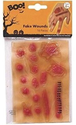 Fake Gory Wounds Halloween Make Up Stick On Joke Scars Zombie Makeup Accessory (Makeup Wounds Halloween)
