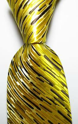 Brown Striped Woven Necktie - New Classic Striped Gold Yellow Brown JACQUARD WOVEN 100% Silk Men's Tie Necktie
