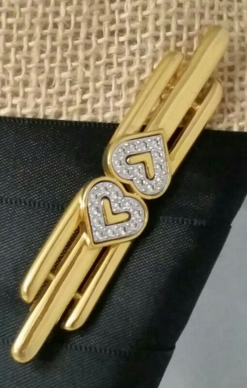 Vintage Monet Signed Pave Rhinestone Double Heart Shape Gold Tone Pin Brooch
