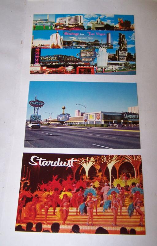 3 Vintage STARDUST Hotel Casino Postcard LAS VEGAS NEVADA