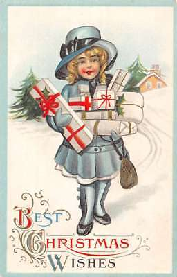 Best Christmas Wishes Little Girl With Gifts Antique Postcard K98767 ()