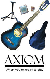 Axiom Childrens Guitar Pack - 3/4 Size Starter Pack - Blue - Beginners Guitar