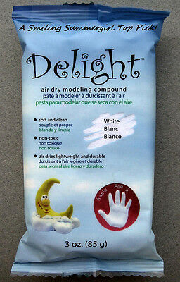 Delight -Air dry modeling compound Lightweight, Non-Toxic, White, Paintable Clay