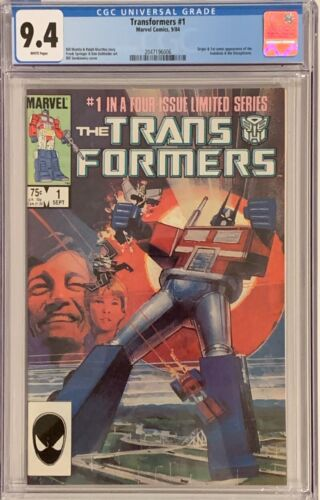 Transformers #1 (1984, Marvel) CGC 9.4 WHITE Pages - Origin & 1st Appearance
