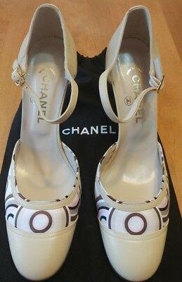 CHANEL Vintage Cream Leather/Printed Satin High Heel MaryJane Pump NEW Size 41