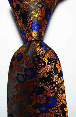 New Classic Floral Gold Black Blue JACQUARD WOVEN 100% Silk Men
