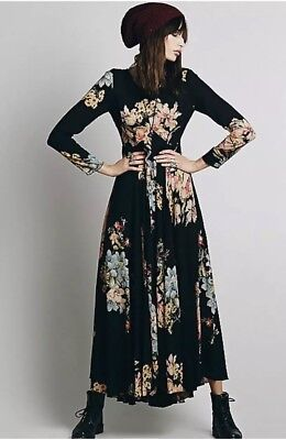 Free People First Kiss Floral Garden Maxi Dress Xs