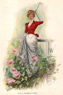"""Reiterin in Kostüm, """"Mein Schatz ist ein Reiter!"""", Farbholzstich von ca. 1890"""