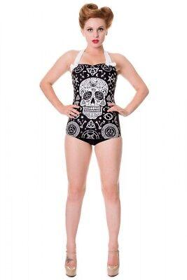 Banned Badeanzug Skull Rockabilly Retro Vintage 50s Pin up swimwear  #3152 613 ()