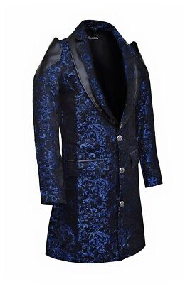 Men's Jacket Coat Blue Damask Gothic Steampunk VTG Aristocrat / faux leather  - Steampunk Jacket Mens