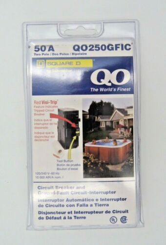 QO 50A Two Pole Red Visi-Trip Breaker Ground-Fault 120V QO250GFIC New