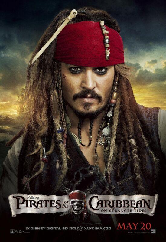 Pirates Of The Caribbean movie poster On Stranger Tides, Johnny Depp poster (c)