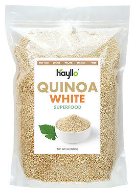 5 Lb Premium Peru Royal White Quinoa Seeds In Resealable Bag by Hayllo