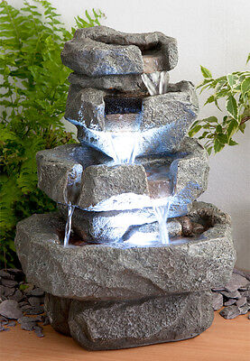 Tabletop Rock Effect Cascade Water Feature Fountain Tiered With LED Lights