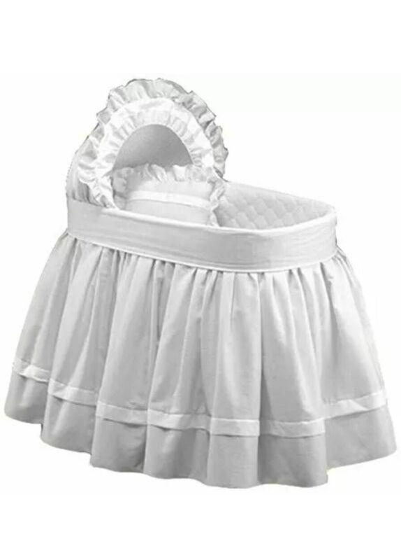 White Babydoll Bassinet Bedding Set Regal Pique Hood Liner Infant Bed Nursery