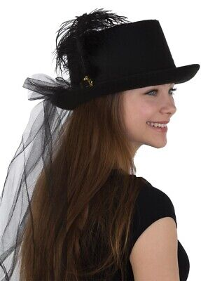 Womens Deluxe Black Felt Top Hat With Plume and Veil Costume Accessory - Top Hat With Veil