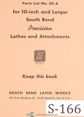 Southbend 30-a Lathes And Attachments Parts List Manual 1946