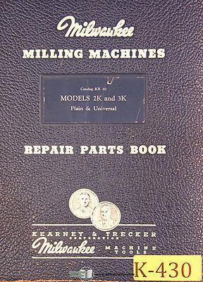 Kearney Trecker 2k 3k Kr-10 Milling Machine 75page Repair Parts Manual