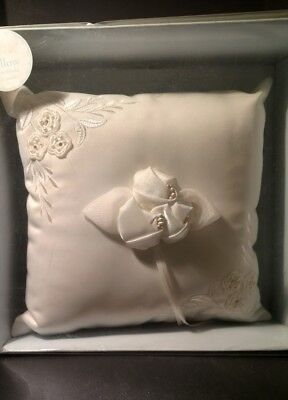 """CREAM / IVORY RING BEARER PILLOW - 9"""" Square Embroidery & Roses - VICTORIA LYNN"""