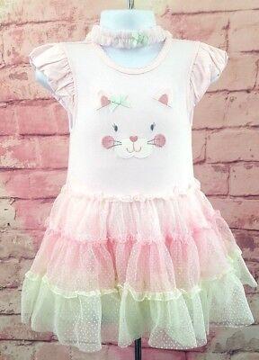 Green Dresses For Little Girls (Little Me Tutu Popover Kitten Dress & Headband for Baby Girls Pink/Green)