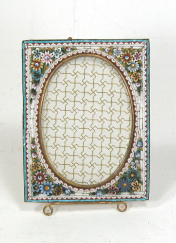 """Antique Micro Mosaic Micromosaic Colorful Raised Style  Picture Photo Frame 4"""""""