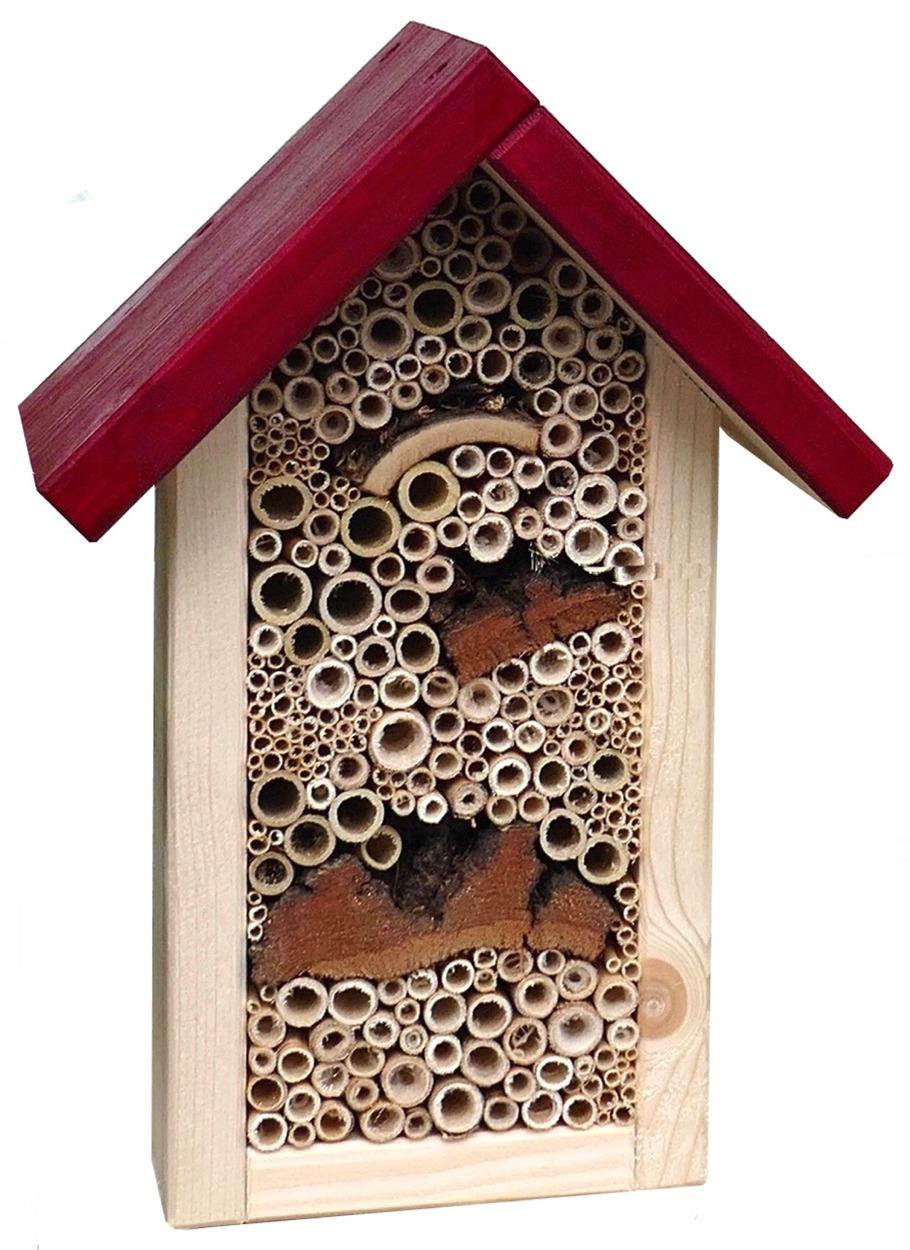 Insektenhotel, Bienenhaus, Nisthilfe, Insekten Appartement mit rotem Dach