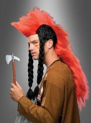 f Perücke Zöpfen schwarz rot lang Indianer (Mohawk Perücke)