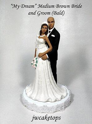 Bald Groom African American Wedding Caketop Bride 49BA