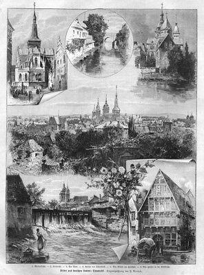 Osnabrück, Sammelblatt, Original-Holzstich von 1898