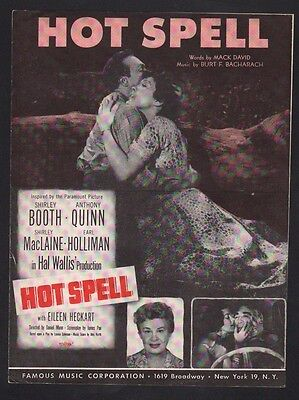 Hot Spell 1958 Shirley Booth Anthony Quinn Shirley MacLaine Sheet Music