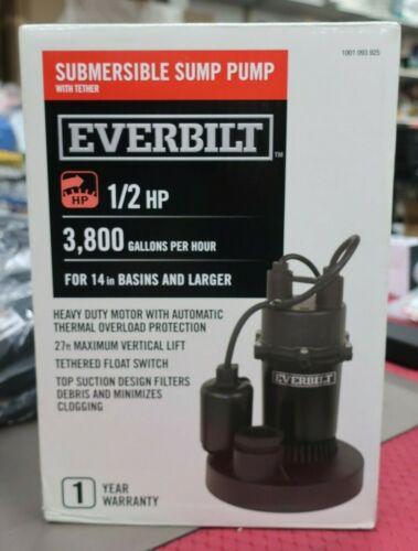 Everbilt SBA050BC Submersible Sump Pump 1/2HP 3,800Gal/Hr 1001093925 ----(WH2)