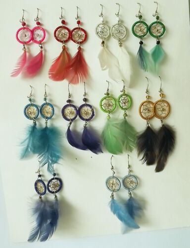 Wholesale 35 pairs of Dreamcatcher Feather Earrings. Handmade in Peru