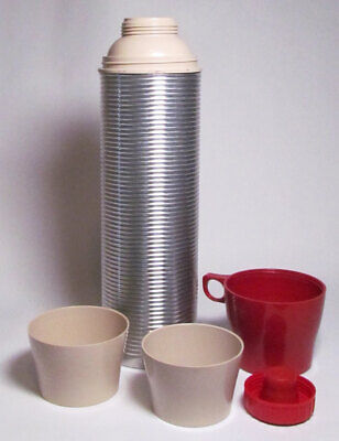 Thermos Vintage Red Top Aluminum Ribbed Vacuum Bottle Quart Model 2484 USA