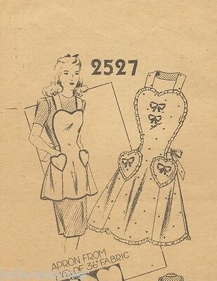 ~ Vintage 1940 Full Size Sweet Heart Apron Reproduction Sewing Pattern! # 2527