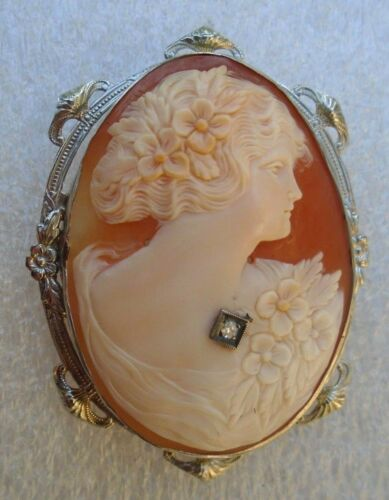 fine antique  14k white gold carved shell cameo pin with diamond