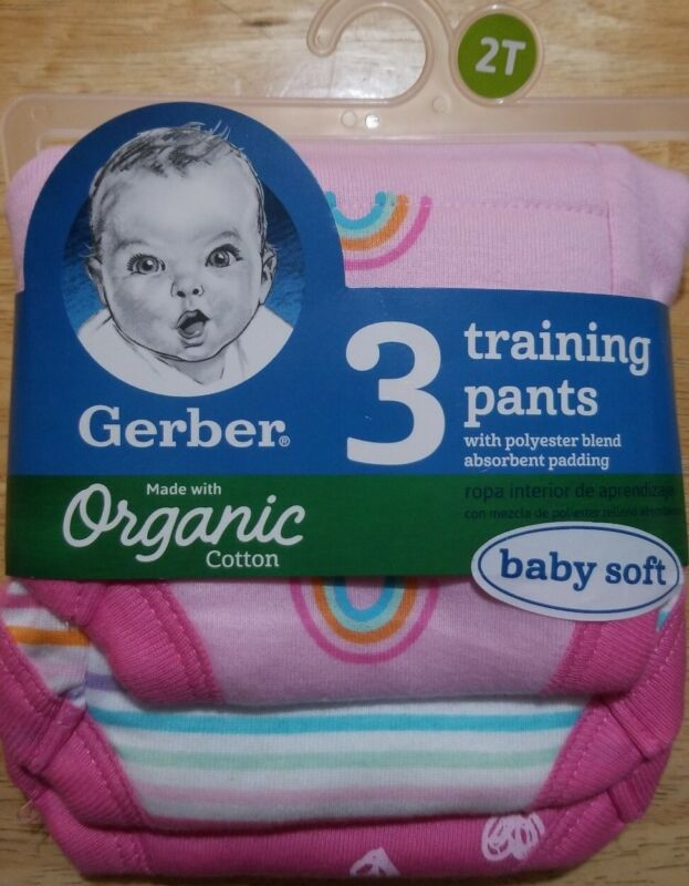 NWT GERBER GIRLS 2T 28-32 LBS 3 PACK PINK PADDED TRAINING PANTS COTTON POLYESTER