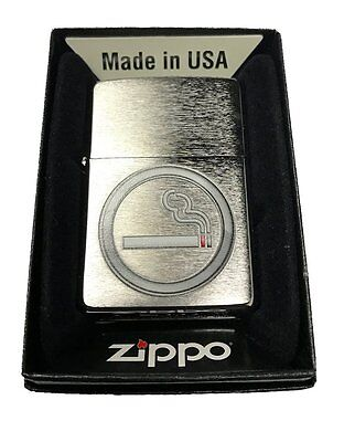 Zippo Custom Lighter Smoking OK Icon - Brushed Chrome New Gift Dad Mom