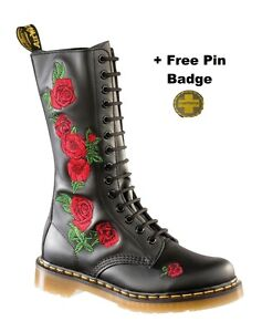 Dr-Doc-Martens-Womens-1914-Vonda-Rose-Flower-Embroidered-Black-Leather-Boots