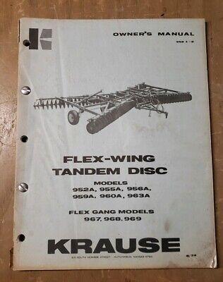 Krause Owners Manual Flex-wing Tandem Disc Harrow 952 A-2 1j-2443-y21