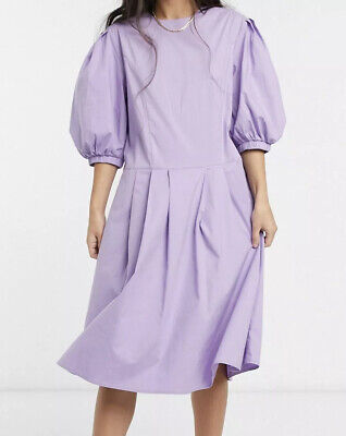 Selected Femme LILAC Purple puff sleeved midi dress size Eur 38 BNWT...