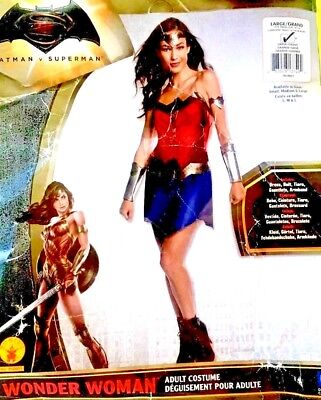 Wonder Woman Sz L Costume + Boot Covers, Belt, Tiara, Gauntlets, Red Cape Adult - Red Costume Boot Covers